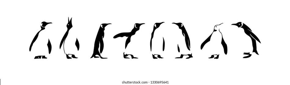 penguin set of pose  logo icon designs vector illustration silhouette