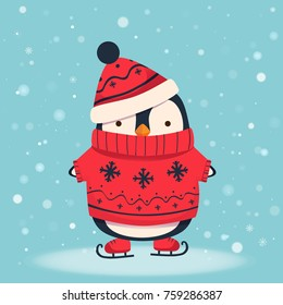 Penguin skating cartoon illustration. Penguin in sweater and hat