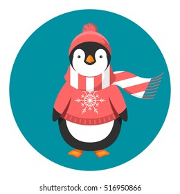 Penguin in sweater, hat and scarf