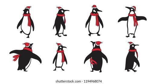 penguin vector Christmas Santa Claus Hat Xmas icon logo cartoon character bear polar bear illustration