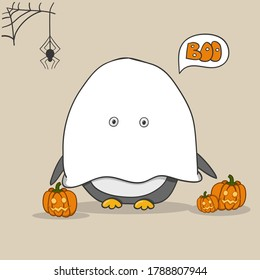 Penguin wearing in a ghost costume with carved pumpkins. Happy Halloween card. Hand drawn vector illustration