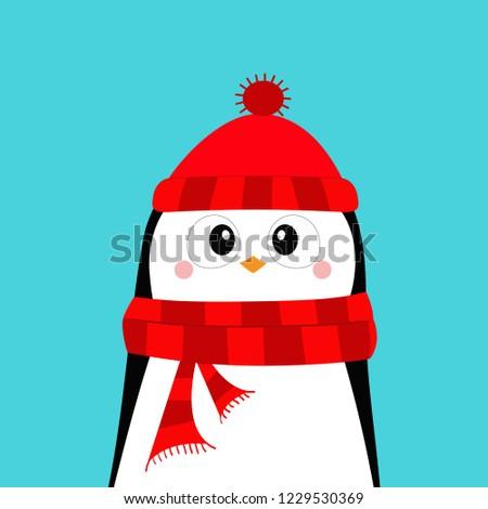 a04def07c430b Merry Christmas. Happy New Year. Cute cartoon kawaii baby character. Arctic  animal. Flat design. Hello winter. Blue background. Vector illustration -  Vector