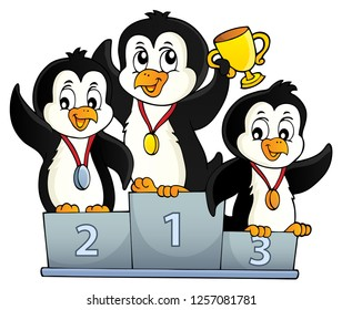 Penguin winners theme image 1 - eps10 vector illustration.