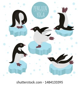 Penguin yoga poses and exercises. Cute cartoon clipart set. Vector illustration