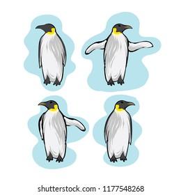 Penguins animal vector hand drawn cartoon illustration