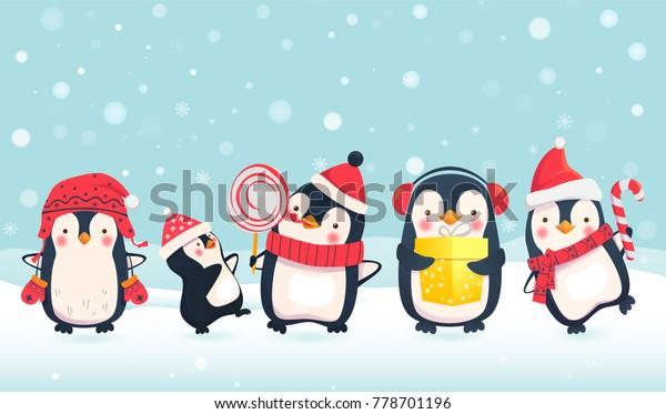 Vetor Stock De Pinguins Desenho Animado Ilustracao Vetorial
