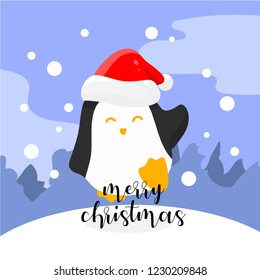 penguins character merry christmas