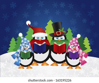 Penguins Christmas Carolers with Hats and Scarfs with Night Winter Snow Scene and Random Music Notes Background Vector Illustration