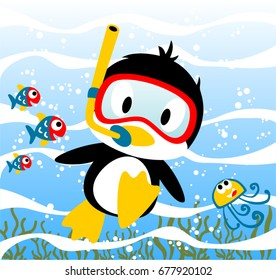 Penguins diving time with little friends, jellyfish, fishes, vector cartoon illustration