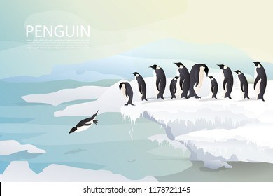 Penguins and family/friends group on ice are jumping joyfully with ice mountain background and sunset in winter. Group of penguin design.EPS10 Vector.
