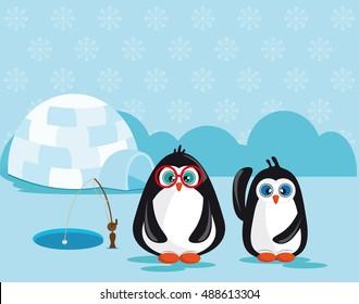 Penguins fishing near an igloo