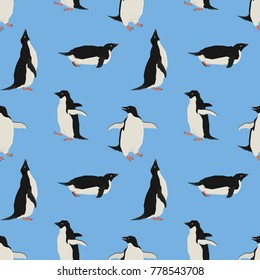 Penguins on a blue background. Geometric style Seamless pattern.