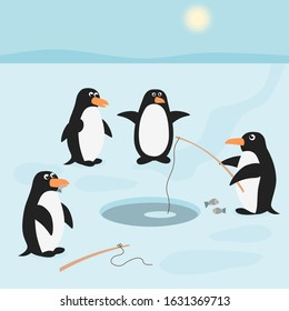 Penguins are on fishing. Cartoon scene with penguins on ice. Winter snow landscape. Arctic animal cartoon characters. Vector illustration.