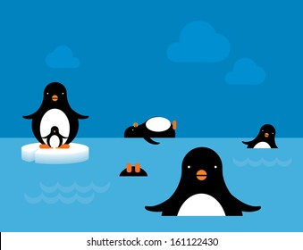 penguins at play/ swimming vector/illustration