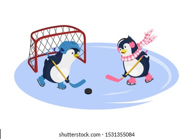 Penguins playing hockey. Isolated characters in cartoon style. Winter sport. Fanny image of arctic bird. Vector illustration
