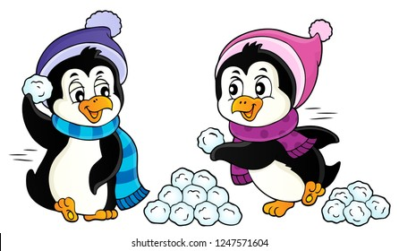 Penguins playing with snow image 1 - eps10 vector illustration.