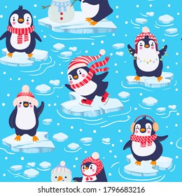 Penguins seamless pattern. Cute baby penguins in winter clothing and hats, christmas arctic animal, kids textile or wallpaper vector texture. Characters standing on piece of ice in cold water