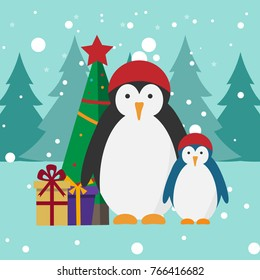 Penguins vector illustration. Penguin in a Christmas red hat. Christmas decorated tree. presents and gifts. Snowy and cold weather. Forest, trees background.
