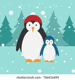 Penguins vector illustration. Snowy and cold weather. Forest, trees background.