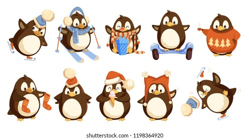 Penguins wearing winter warm clothes isolated set vector. Animal hat and sweater, socks and scarf opening present in bow with bow. Skiing activity