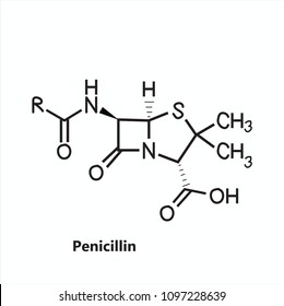 Penicillin chemical structure vector