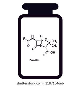 Penicillin chemical structure in vial
