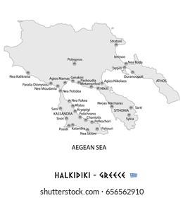 peninsula of halkidiki in greece white map art illustration