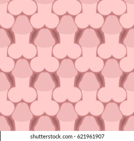 Penis seamless pattern. Body part texture. Male background