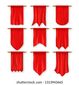 Pennant Flag Set Vector. Red Empty Template. Pennon Fabric Blank. Advertising Canvas Banner. Hanging Wall Pennat. Heraldic Pennant 3D Realistic Isolated Illustration