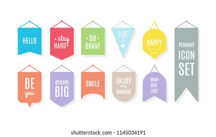 Pennant icon set with motivational quotes. Vector illustration, flat design