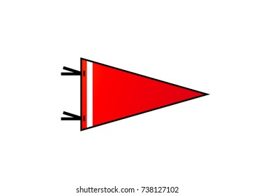 Pennant isolated on white background. Red blank flag with white strip in flat simple style. Vector illustration.
