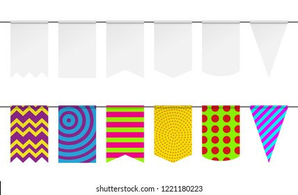 Pennant mockup for holiday flag garland. Vector bunting flags.