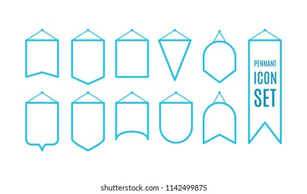 Pennant outline icon set. Vector illustration, flat design