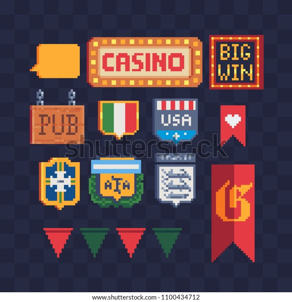 Pennant Signboard Pixel Art Icons Set Stock Vector Royalty
