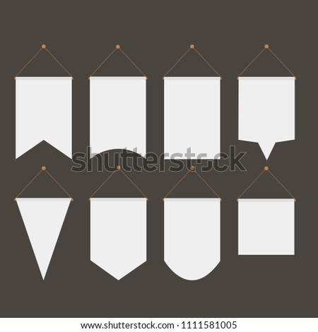 pennant template hanging on wall set stock vector royalty free
