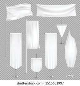 Pennants banners flags realistic set on transparent background with various shapes mockups and empty colour cloth vector illustration