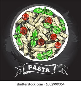 Penne pasta with tomatoes and basil. Dish of Italian cuisine. Ink hand drawn Vector illustration with brush calligraphy  lettering. Top view. Food element for menu design. Chalkboard style.