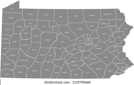 Pennsylvania county map labeled vector outline gray background. Map of Pennsylvania state of USA with borders and counties names