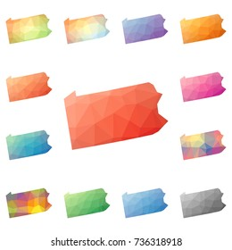 Pennsylvania geometric polygonal, mosaic style us state maps collection. Bright abstract tessellation, low poly style, modern design for your infographics or presentation.
