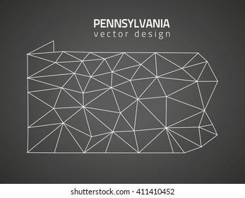 Pennsylvania  grey vector polygonal map