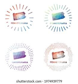 Pennsylvania low poly sunburst set. Logo of us state in geometric polygonal style. Vector illustration.