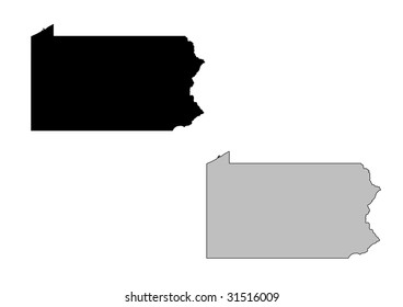 Pennsylvania map. Black and white. Mercator projection.