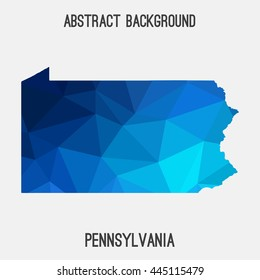 Pennsylvania map in geometric polygonal,mosaic style.Abstract tessellation,modern design background. Vector illustration EPS8