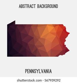 Pennsylvania map in geometric polygonal,mosaic style.Abstract tessellation,modern design background. Vector illustration