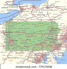 Pennsylvania map. Shows state borders, urban areas, place names, roads and highways.Projection: Mercator.