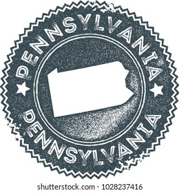 Pennsylvania map vintage dark blue stamp. Retro style handmade us state label, badge or element for travel souvenirs. Vector illustration.