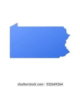 Pennsylvania state border,map