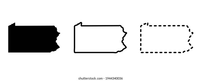 Pennsylvania state isolated on a white background, USA map
