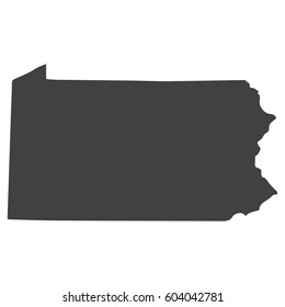 Pennsylvania state map in black on a white background. Vector illustration