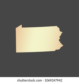 Pennsylvania state of USA map vector outline illustration in gray background. Highly detailed map of Pennsylvania state of United States of America in a creative graphic design